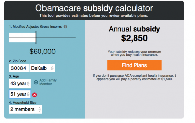Obamacare Subsidy/Fine calculator
